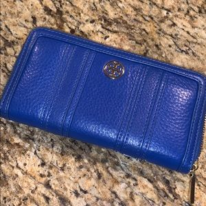 Tory Burch cobalt blue and gold wallet